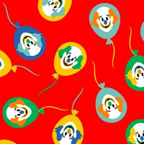 Circus Clown Balloons on Red