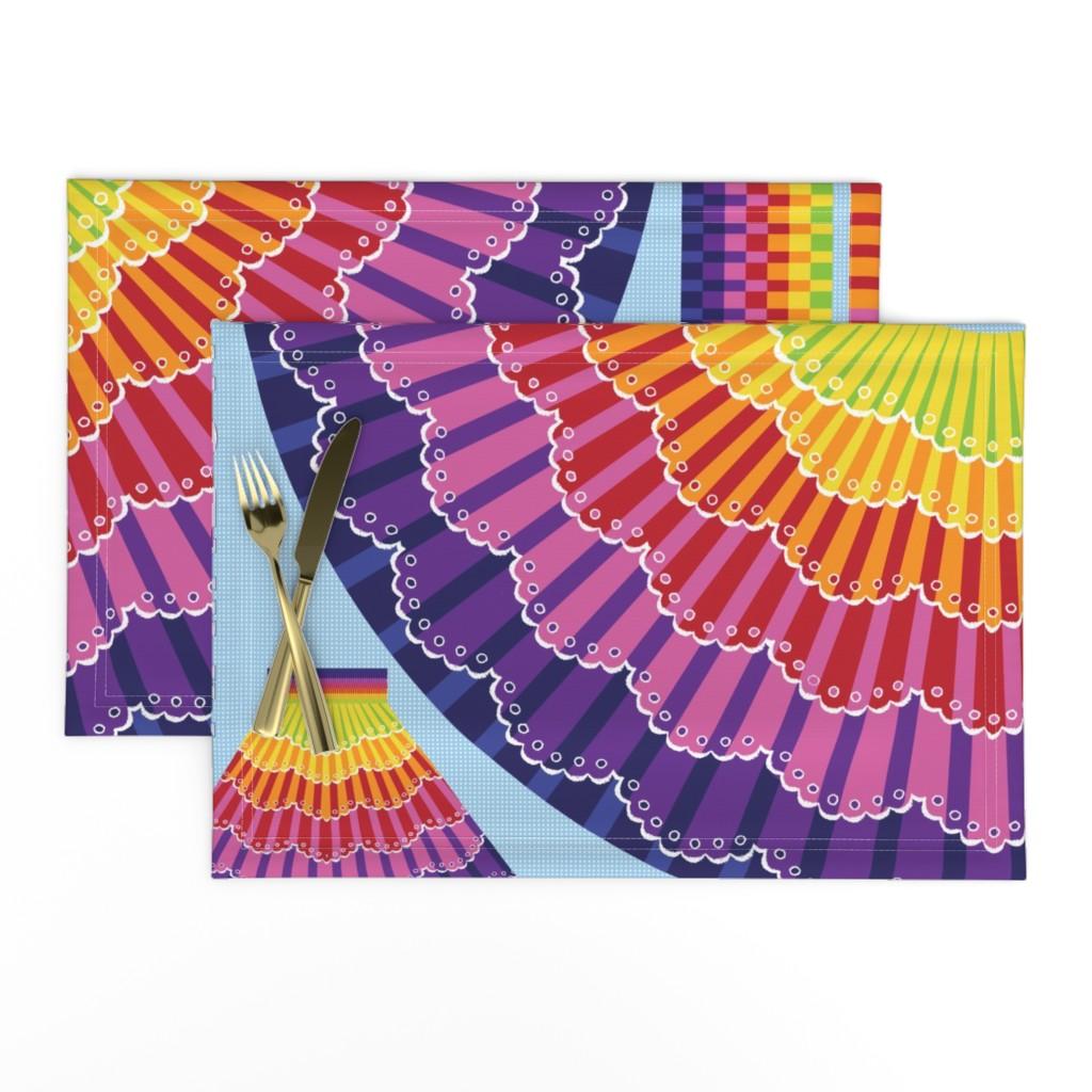 Lamona Cloth Placemats featuring Rainbow Twirl Skirt by sammyk