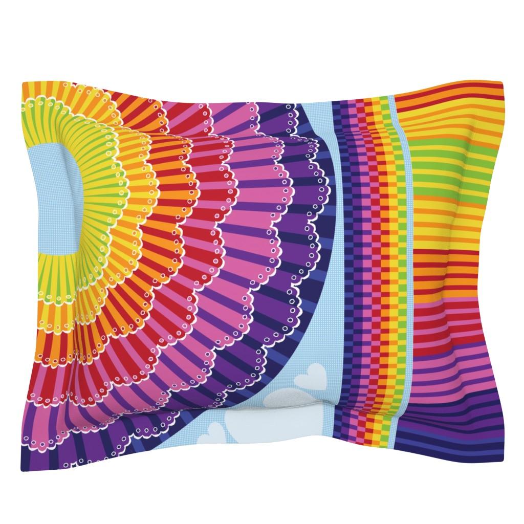 Sebright Pillow Sham featuring Rainbow Twirl Skirt by sammyk