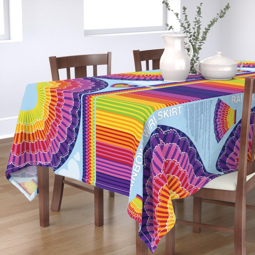 Bantam Rectangular Tablecloth featuring Rainbow Twirl Skirt by sammyk