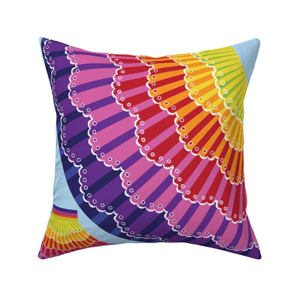 Catalan Throw Pillow featuring Rainbow Twirl Skirt by sammyk