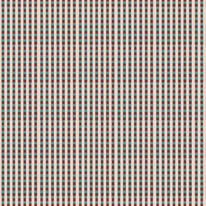 Red Blue and Beige Lattice Upholstery Fabric