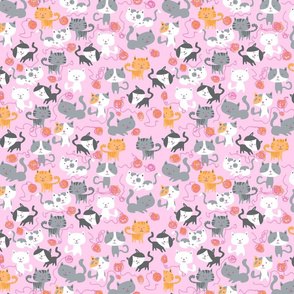 Kitties and Yarn Balls on pink