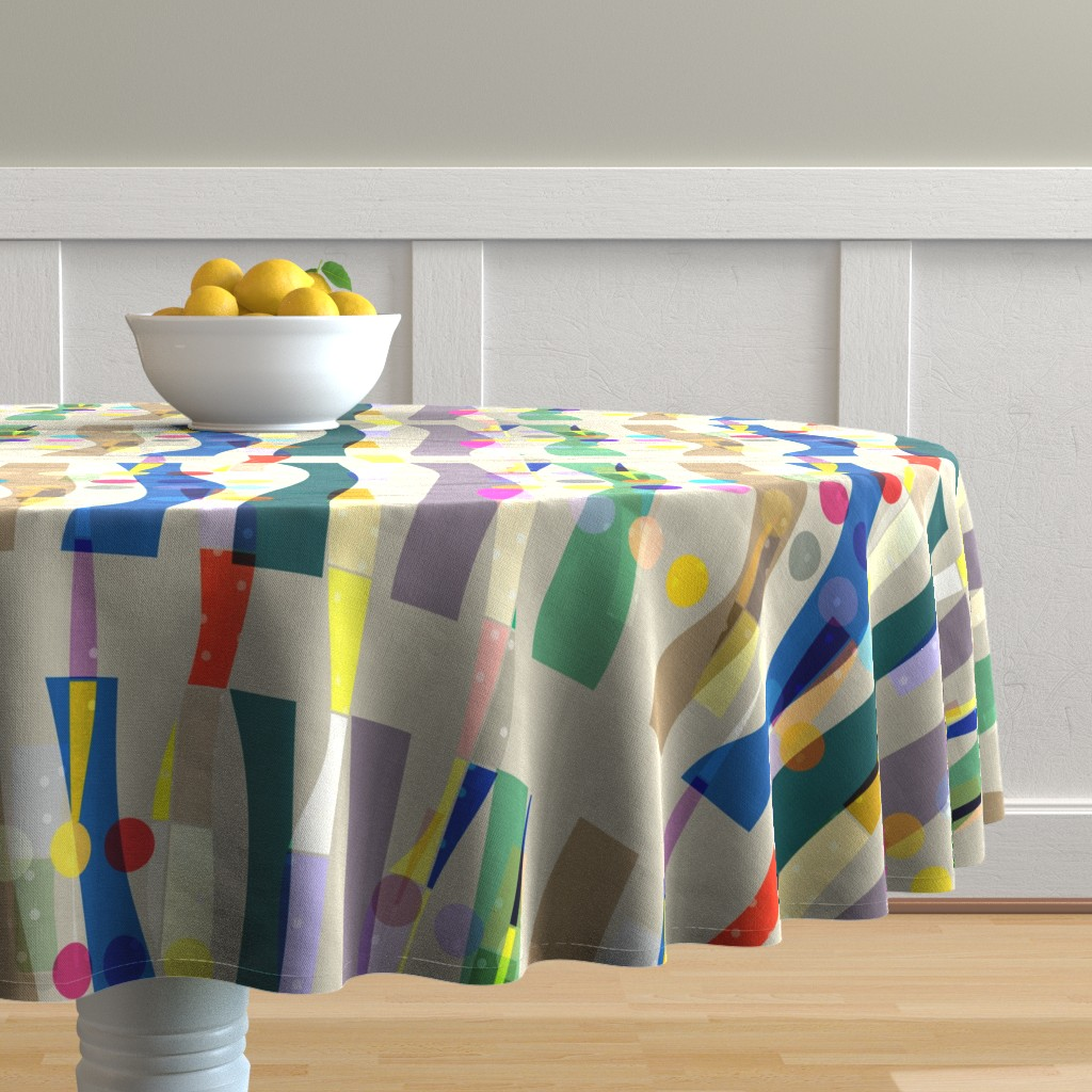 Malay Round Tablecloth featuring Color Block Linen . Matisse Interrupted  by barbara_moffett