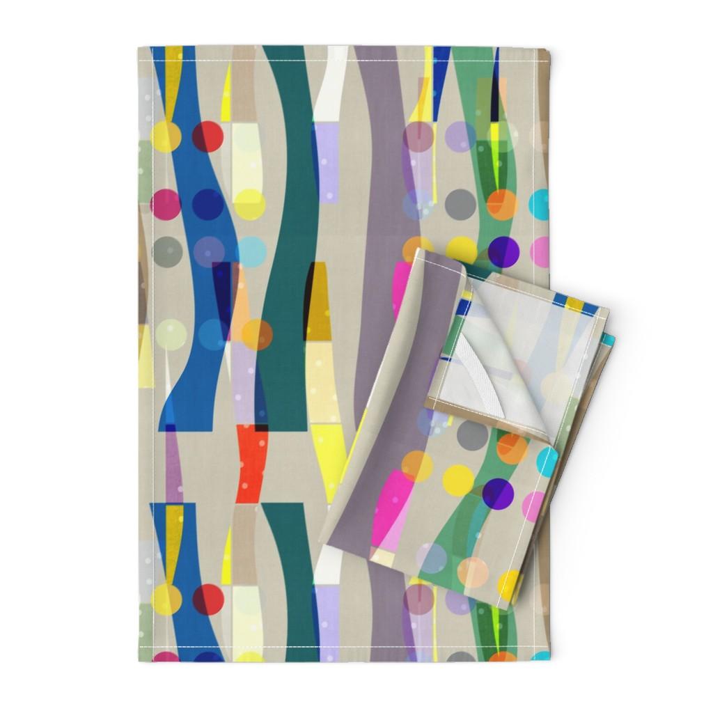 Orpington Tea Towels featuring Color Block Linen . Matisse Interrupted  by barbara_moffett