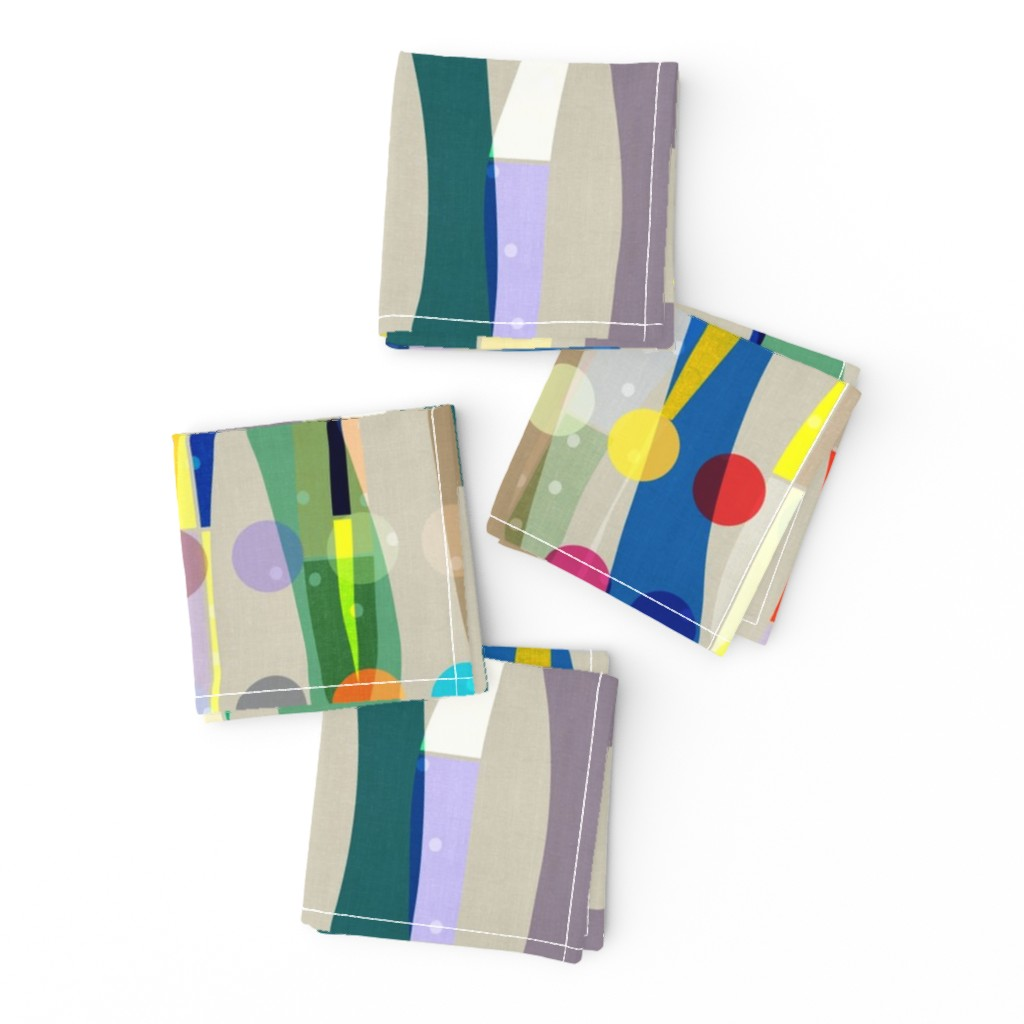 Frizzle Cocktail Napkins featuring Color Block Linen . Matisse Interrupted  by barbara_moffett
