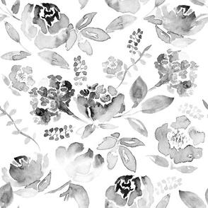 Watercolour Floral Black & White