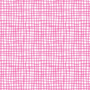 Gingham Pink on White