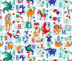 circus animal alphabet blue