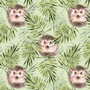 Hedgehogs. Green pattern