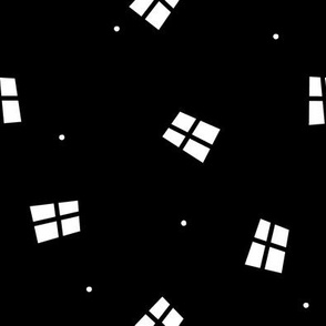 Abstract Windows & Dots (black and white)