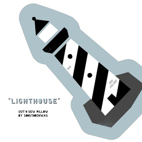 """Cut and Sew """"Lighthouse"""" (black and white)"""