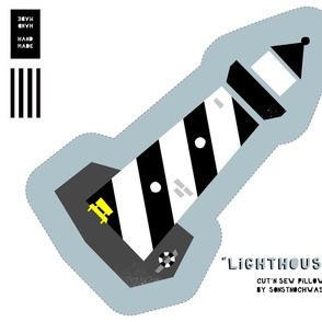 """Cut and Sew """"Lighthouse 02"""" (black and white)"""