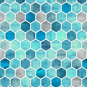 Teal Blue Ink - Watercolor Hexagon Pattern Small