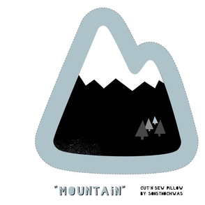 """Cut and Sew """"Mountain"""" Pillow (black and white)"""