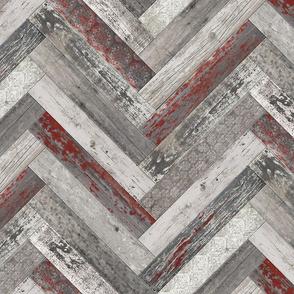 Vintage Wood Chevron Tiles Herringbone Burgundy