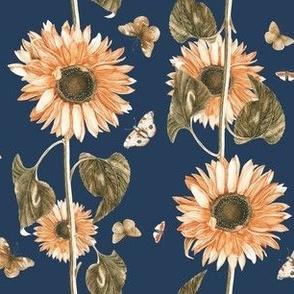 Sunflowers on Navy