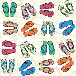 Flip Flops - Bright, White