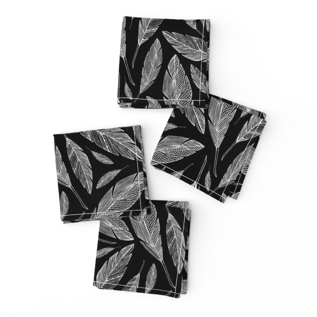 Frizzle Cocktail Napkins featuring Float Like A Feather - Black by heatherdutton