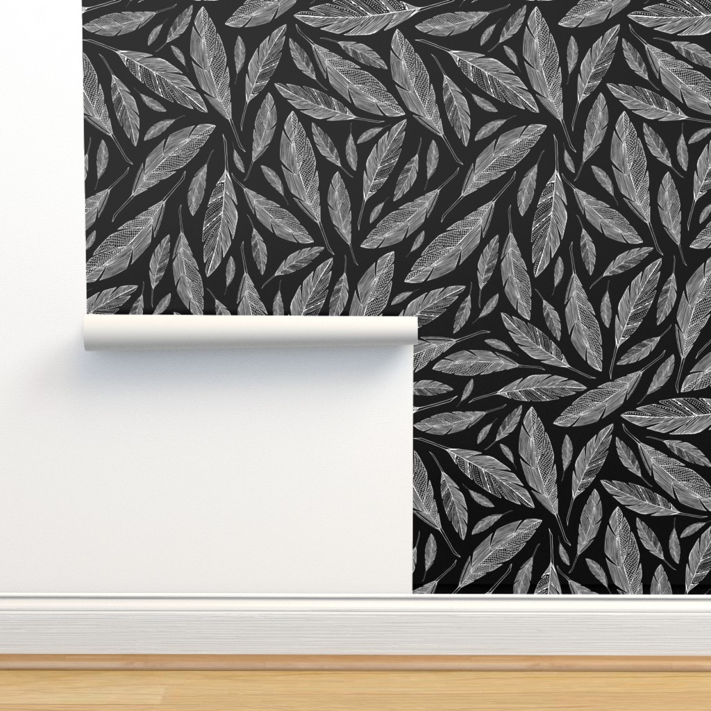 Isobar Durable Wallpaper featuring Float Like A Feather - Black by heatherdutton