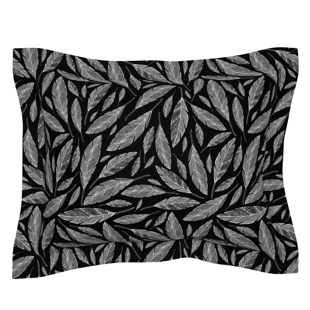 Sebright Pillow Sham featuring Float Like A Feather - Black by heatherdutton