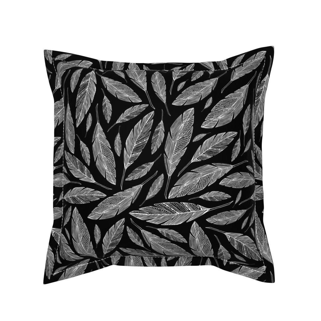 Serama Throw Pillow featuring Float Like A Feather - Black by heatherdutton