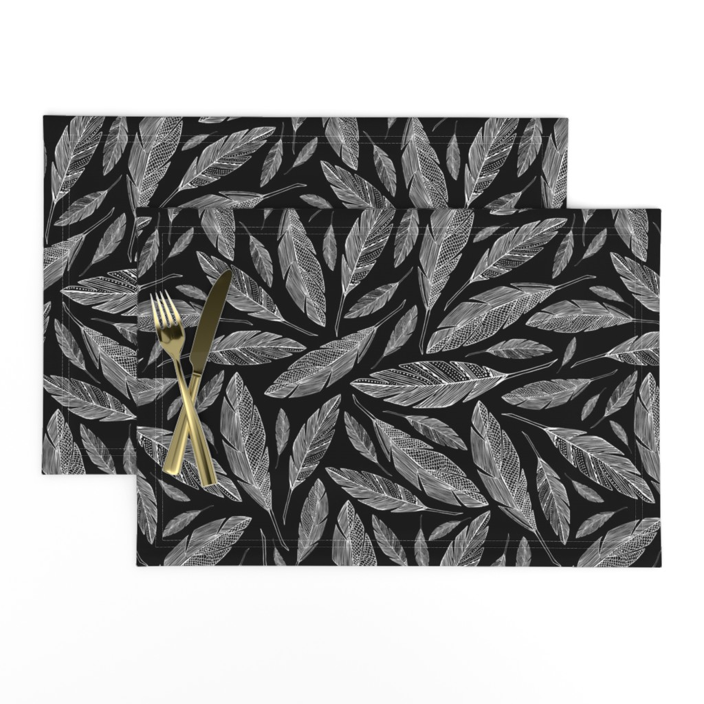 Lamona Cloth Placemats featuring Float Like A Feather - Black by heatherdutton
