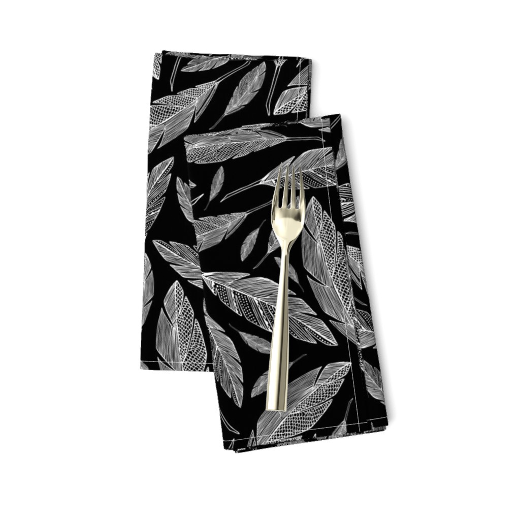 Amarela Dinner Napkins featuring Float Like A Feather - Black by heatherdutton
