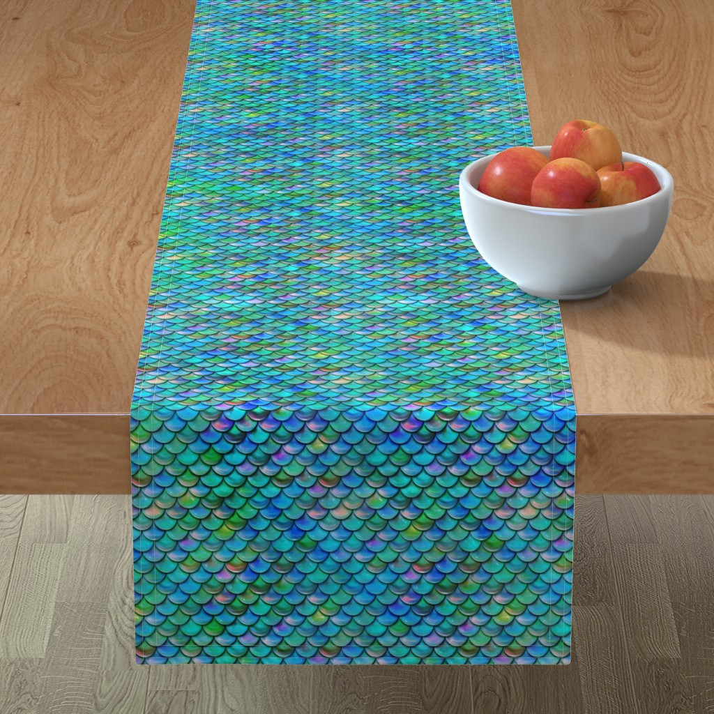 Minorca Table Runner featuring Mermaid Scales by elladorine