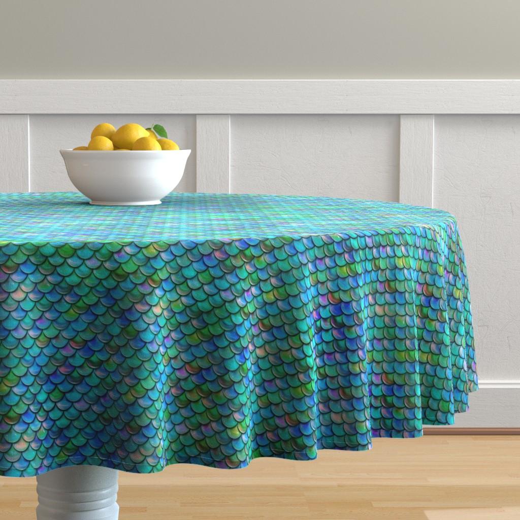 Malay Round Tablecloth featuring Mermaid Scales by elladorine