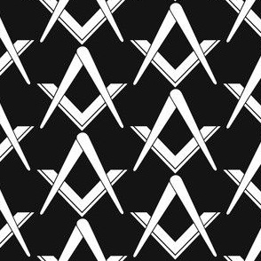 "Large 2"" (No G) Masonic Square Compass Black White"