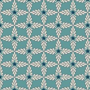 Teal Diamond Print with Khaki Floral and Leaf