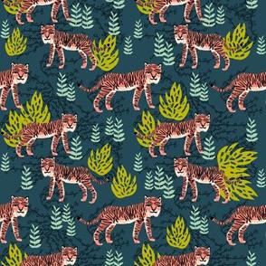 safari tiger fabric // linocut tropical animal fabric illustration design by andrea lauren - navy