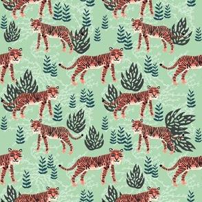 safari tiger fabric // linocut tropical animal fabric illustration design by andrea lauren - mint