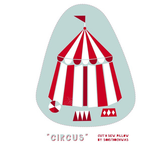 "Cut and Sew ""Circus 02"" Pillow"