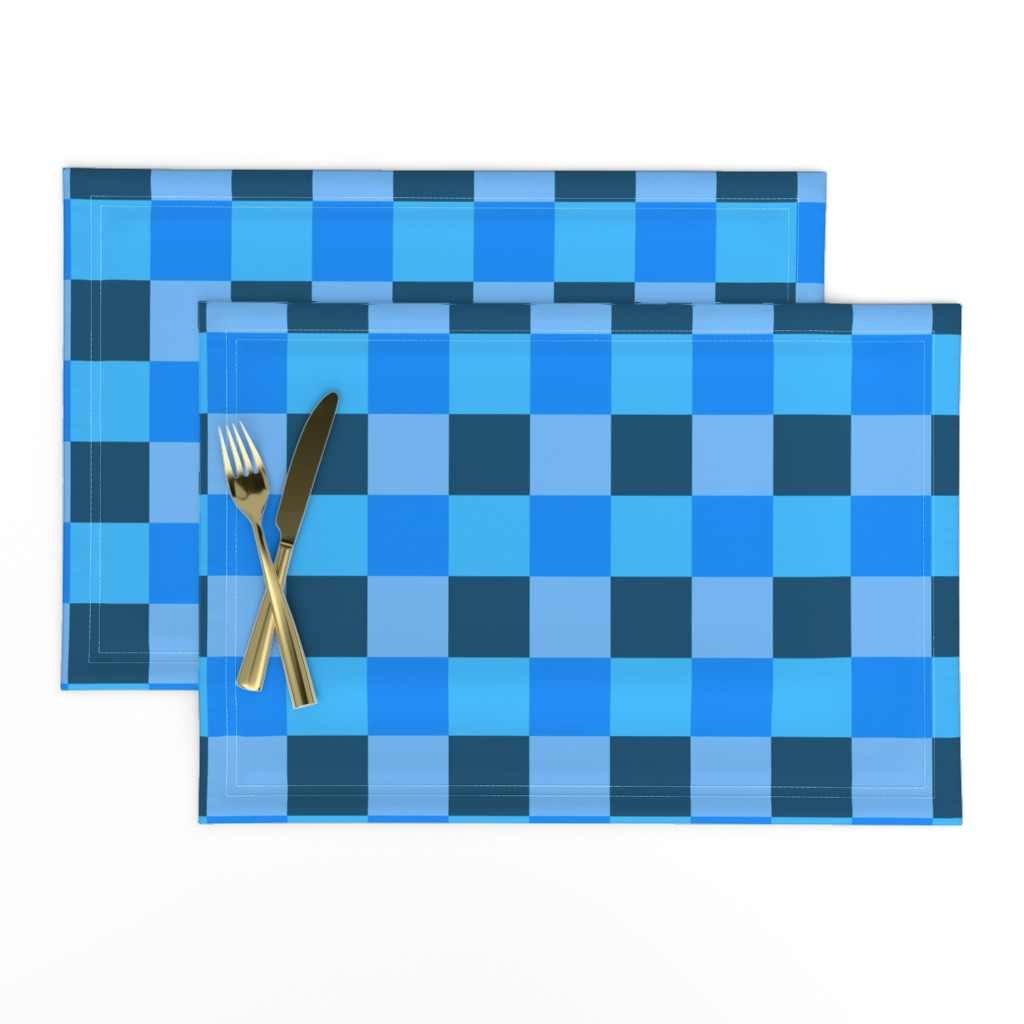Lamona Cloth Placemats featuring Coordinating Blues by jenfur