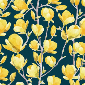 Normal scale // Yellow Magnolia Spring Bloom 1 // navy blue background