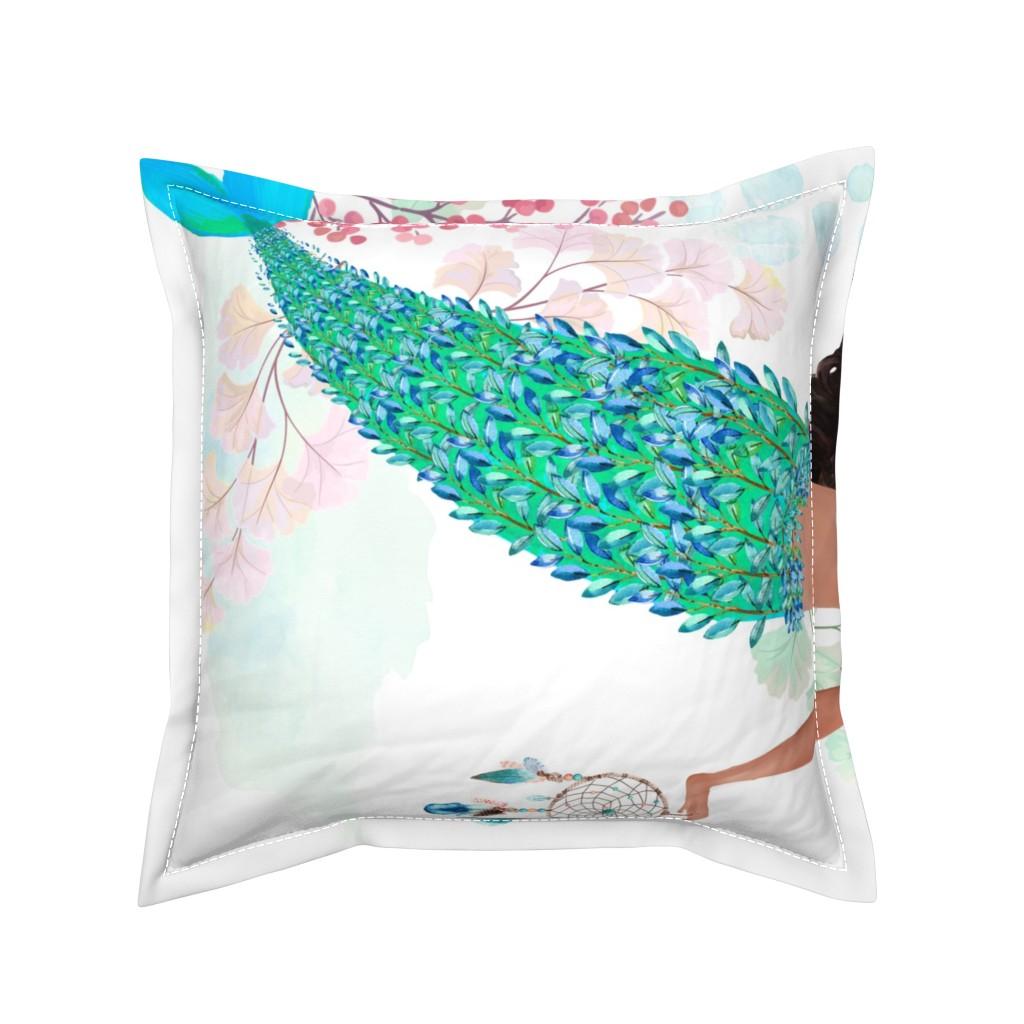 "Serama Throw Pillow featuring 42""x36"" Chloe Mermaid / Mermaid Kisses Quote by shopcabin"