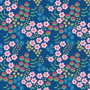 Dainty flowers on blue