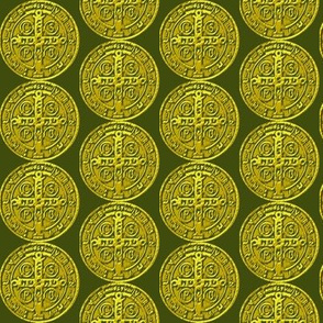 St Benedict Medal Green-Gold