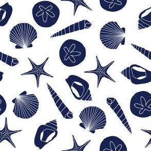 Seashells (navy on white)