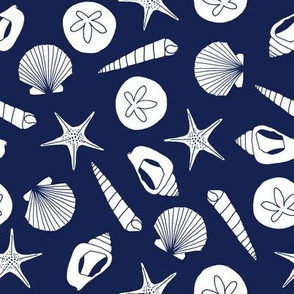Seashells (white on navy)