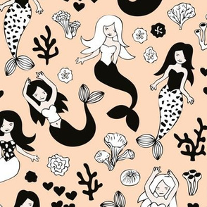 Sweet little mermaid girls theme with deep sea ocean coral illustration details in blush nude peach black and white
