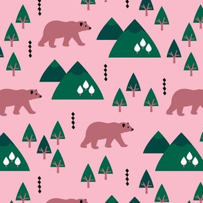 Parks and woodland canada grizzly bear forest mountains pink
