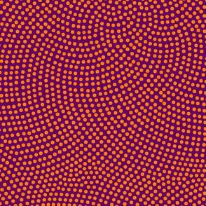 Fibonacci-flower polkadots - Indian orange on purple