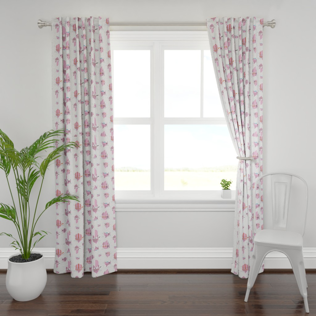 Plymouth Curtain Panel featuring Pink - Airships by the_wookiee_workshop