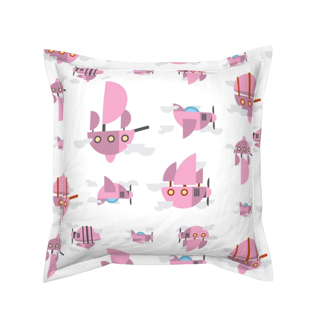 Serama Throw Pillow featuring Pink - Airships by the_wookiee_workshop