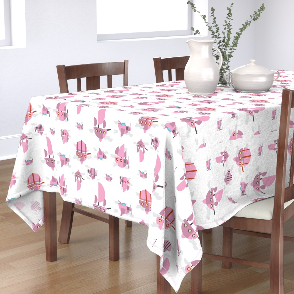 Bantam Rectangular Tablecloth featuring Pink - Airships by the_wookiee_workshop