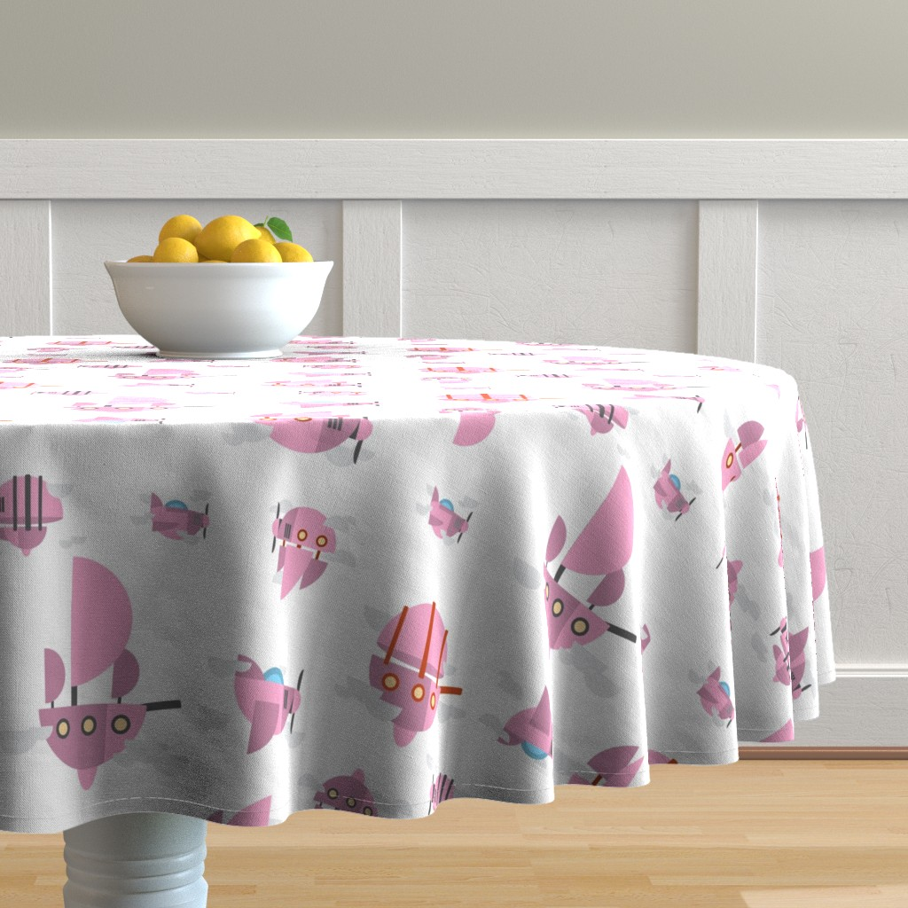 Malay Round Tablecloth featuring Pink - Airships by the_wookiee_workshop