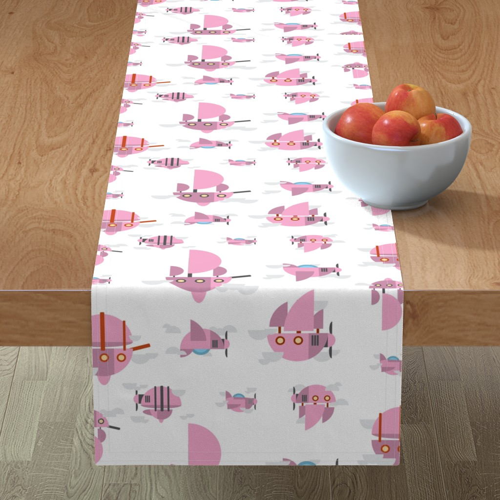 Minorca Table Runner featuring Pink - Airships by the_wookiee_workshop